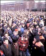 Striking British Leyland workers during the 1979 winter of discontent