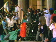 Nelson Mandela at a rally in Cape Town