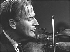 Close up of Menuhin playing the violin