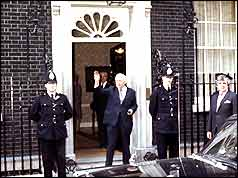 Harold Wilson at Downing Street after the announcement of his resignation