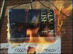 Photograph of the Satanic Verses being burned in Bradford