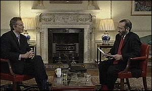 Tony Blair and the BBC's Robin Lustig