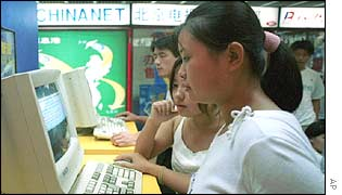 Schoolgirls in a cyber cafe in China