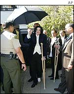 Michael Jackson arriving at court in Santa Maria, California