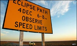 Road sign warning motorists of impending eclipse in Australia