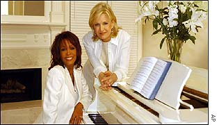 Whitney Houston with interviewer Diane Sawyer