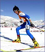 Stefania Belmondo competes in the 2002 Winter Olympics