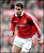 Danny Higginbotham in action for Manchester United