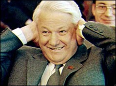 Boris Yeltsin after winning the presidential election in 1990 (Reuters)