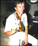 A fresh-faced and lubricated Steve Waugh celebrates the 1987 World Cup win