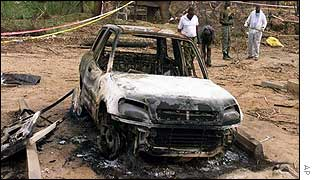 Destroyed car near site of Paradise Hotel bombing