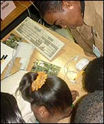 Women studying a computer