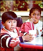 Bolivian children eating at a McDonald's restaurant in La Paz