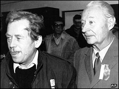 Vaclav Havel and Alexander Dubcek