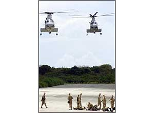 Helicopters above the airfield