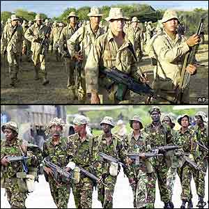 Kenyan soldiers and US marines