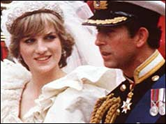 Prince and Princess of Wales on their wedding day in 1981