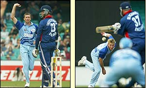 New South Wales bowlers Glenn McGrath and Brett Lee in action