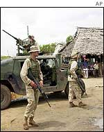 US marines on exercise in Kenyan coastal village
