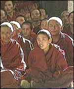 Monks at the Tashilunpo monastery in Tibet