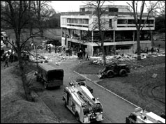 The scene after an IRA bomb exploded at the Aldershot headquarters of the Parachute Regiment,