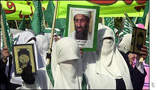 Palestinian women march in support of Bin Laden