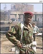 Kenyan soldier outside bombed Paradise Hotel