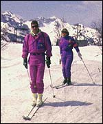 Skiers in Slovenia