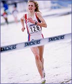 Paula Radcliffe struggles to victory in the snow