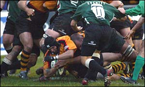 Newport flanker Jason Forster goes over for the game's only try