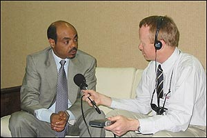 Ethiopian Prime Minister Meles Zenawi (left) being interviewed by Martin Plaut