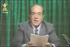 The address was read by the Iraqi Information Minister, Mohammed Said Sahaf