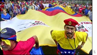 Chavez supporters in Caracas on Saturday