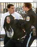 Korean protester arrested in front of the White House