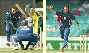 England bowler Ronnie Irani takes the wicket of Andrew Symonds