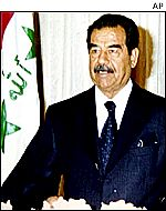 Saddam Hussein addressing Kuwaitis
