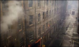 The burnt-out shell of a building in Edinburgh's Cowgate