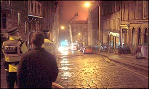Police keeping bystanders away from the blaze (Pic: John McLaggan)