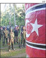 Rebels stand at attention as the banned Crescent Star flag