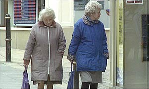 Elderly women walking