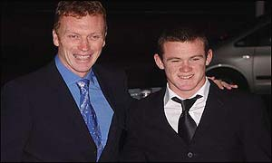 David Moyes and Wayne Rooney arrive