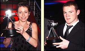 Jane Tomlinson and Wayne Rooney receive their awards