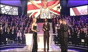 Paula Radcliffe receives the BBC Sports Personality of the Year award