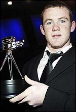 Everton striker Wayne Rooney with the Young Sports Personality award
