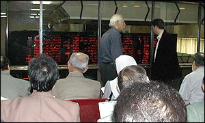 Day traders at the public gallery of Tehran Stock Exchange