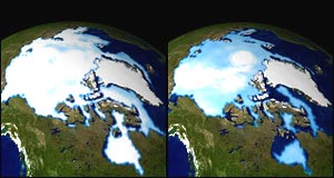 Sea ice, Nasa - Arctic sea ice extent from (LEFT) 1 Jan, 1990, and (RIGHT) 1 Jan, 1999, respectively.