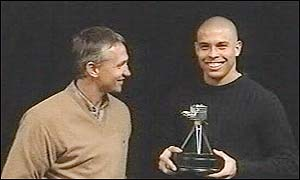 Ronaldo collects his award from Gary Lineker after being named Overseas Personality of the Year