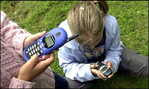 Children sending text messages