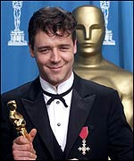 Russell Crowe receives his best actor Oscar for Gladiator