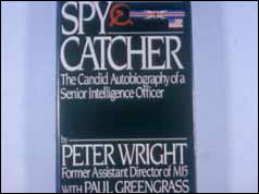 Photograph of Peter Wright's Spycatcher memoirs